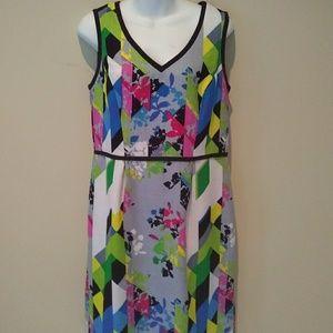 Nine West Sleeveless Colorful Sheath Dress Sz 12